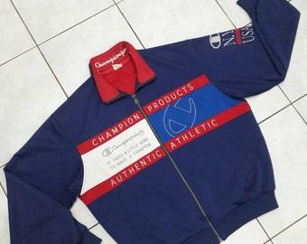 SALE !! Rare Vintage Champion Big Logo Track Suit Jogger Jacket Hip Hop Multi Colour/Sweater sweatshirt jacket Streetwear/ Large