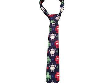 Boys Long Tie - Robot Print