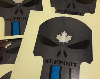 Punisher CANADA blue line, for outdoor vinyl sticker.
