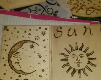 Sun and moon wall deco