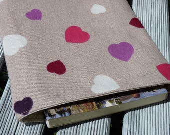 Book Sleeve - Hearts / book protector / Bookcovers / girlfriend gift / Book Bag / Book Cover