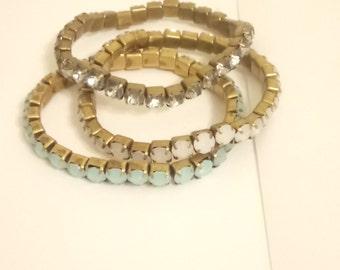 Vintage Elasticated Mixed Imitation Gemstone Tennis Bracelets x 3