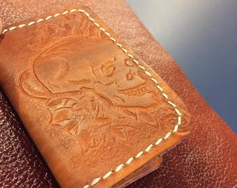 Leather card holder case pagan style skull for bikers hand made brown make it simple