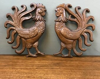 Rooster Wall Hangings - Vintage - Set of 2