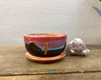 Stoneware Planter - Desert Scene