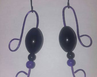 Handemade Unique Purple and Black Beaded Earrings