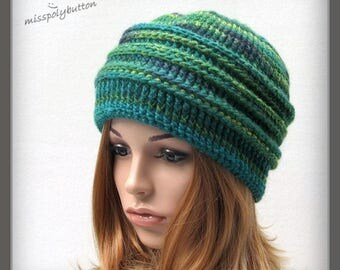 Winter Hat, green crochet hat for women, thick and warm adult or teenie hat, wool blend beanie hat