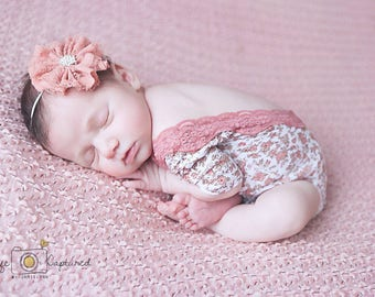 One-piece Photography prop, mauve pink taupe & white jersey print, mauve stretch lace trim, newborn