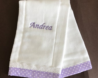 EMBROIDERED  BURP CLOTH, Custom embroidery baby burp cloth with lace, babies gift, personalized baby burp