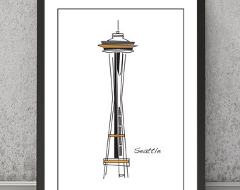 Seattle print, Seattle poster, Seattle art, Seattle Space Needle, Seattle wall decor, Space Needle print, Space Needle poster