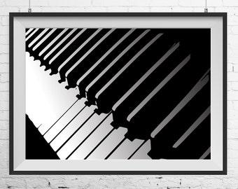 Piano print, Piano poster, Piano art, Piano wall decor, Piano monochrome poster, music print, music poster, Piano wall art, Music wall art