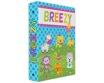 Personalized binder, rainbow animals 3 ring binder, back to school supplies, school binder, binder organizer, little girl gifts
