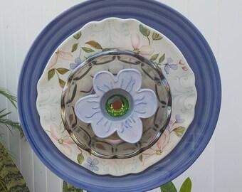 Blue Dogwood Glass Plate Flower