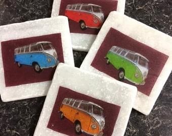 VW Campervans! Set of 4 Marble Coasters