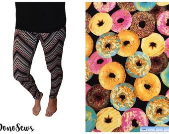Donut Patterned Leggings, Soft Brushed Poly Leggings, Handmade Leggings, Gift for Women, Unique Leggings, Women's Leggings