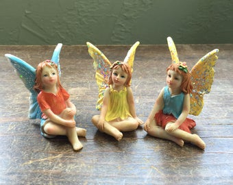 Fairy Garden | Sitting Fairies with Sparkle Wings | Resin Figurine Statues | Choose 1 from 3 Different Styles | So Pretty!