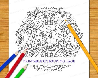 Cartoon Bunny Rabbit Carrots Mandala Cute Printable Colouring Page Download For Adults and Children