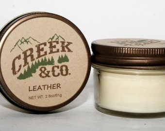 Leather Candle, White Candles, soy candles handmade, soy wax candles, Rustic Candle, Hand poured candles, Hand poured soy candles