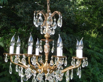 absolutely Stunning Vintage French 8arm bronze Chandelier (W911)
