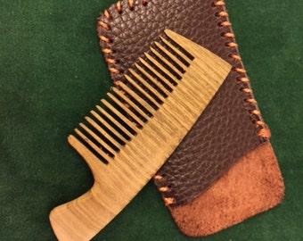 leather comb case etsy. Black Bedroom Furniture Sets. Home Design Ideas