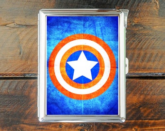 cigarette case SUPER HEROES vintage style captain america wallet card money holder cigarettes box