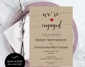 Engagement Party Invitation  Wedding Template  Were engaged  Kraft Invitation  Print on kraft  Downloadable Wedding WDH0207