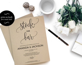 Stock the Bar Invitation Engagement Couples Shower  - Engagement Party  - Engagement invite - PDF Instant Download  #WDH0103