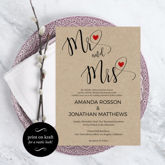 Wedding Invitation Template -  Mr and Mrs Rustic Wedding Invite - Kraft Wedding Invitation - DIY Wedding - Downloadable Wedding #WDH0197