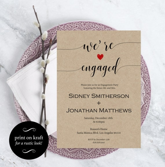 Engagement Party Invitation - Wedding Template - We're engaged - Kraft Invitation - Print on kraft - Downloadable Wedding #WDH0207