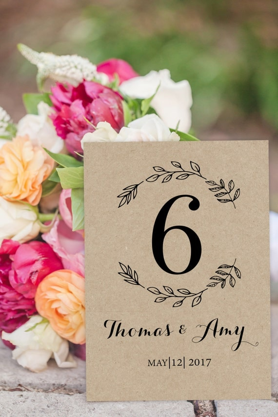 Wedding Table Numbers - Printable Table Numbers - Rustic Wedding Numbers - Kraft  Wedding Table Card  - Seating Table Cards #WDH0249
