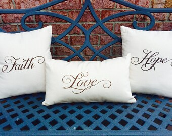 Faith, Hope, Love Throw Pillow Set