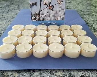 Set of 24 Clean Cotton Soy Tea Light Candles.