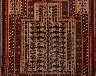 Vintage Afghan tribal Kawdani prayer rug 100% wool