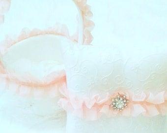 Light Pink Flower Girl Basket and Ring Bearer Pillow Ruffle