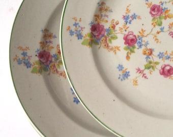 Vintage diner plate with floral pattern