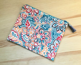Lined Zipper Pouch in Bright and Colorful Abstract Flower Print