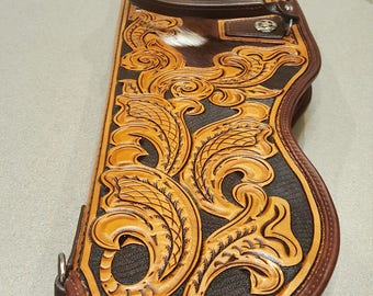 ON SALE 100off. Custom Hand Tooled Leather Rifle Case with Hair On Cow Inlay and Custom Conchos.