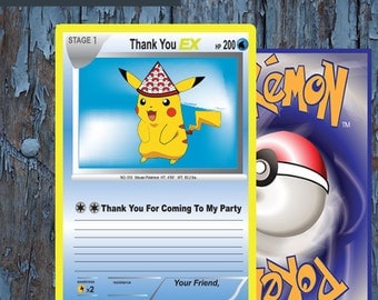 Pokemon,pokemon trading card, Pokemon thank you, Pokemon card, Pokemon birthday, Pokemon Party, Pokemon go, Pikachu, Pokemon Printables,