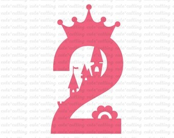 Two Birthday svg, Princess svg, castle svg, Birthday girl svg dxf jpeg cutting files for Silhouette Cameo, Portrait, Curio, Cricut, Scanncut