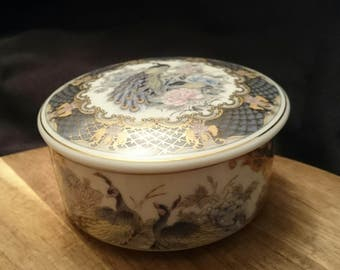 Vintage Japanese trinket box withlid in a colourful Peacock Design Eiwa Kinsei Japan 1970s