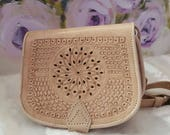 Moroccan Handmade crossbody messenger natural leather coloured bag