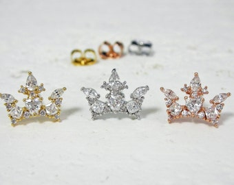 Crown Earrings, Crown Stud Earrings, Sterling Silver Post, Rose Gold Crown Studs, Gold Crown Studs, Silver Crown Studs, Crown Jewelry
