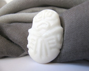 Natural Pebble Pin Inspired by Prehistoric Art White Natural Stone Hand Engraved Prehistoric Artistic Motif Natural White Stone Jewelry Pin