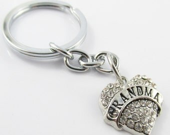 Rhinestone Grandma Heart Charm Keychain Keyring 76mm (KC056)
