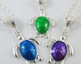 Enamel Sea Turtle Charm Necklace 50cm Silver Plate Chain Select Colour