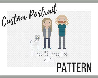 Custom Cross Stitch Portrait PATTERN // PDF Digital Pattern // Christmas // Personalized Pattern
