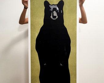 Bear Print, Bear Art, Bear Poster, Black Bear Art Print, Black Bear Poster, Black Bear Art, Bear Art Print, Standing Bear Print, Black Bear