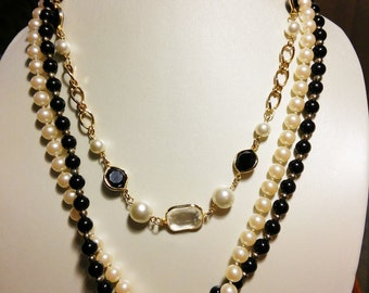 Black & White Multi Strand Necklace