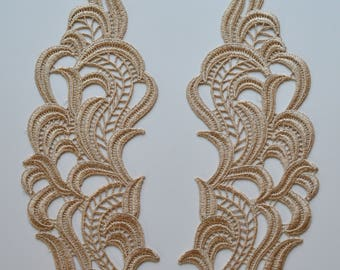 Gold guipure lace apllication