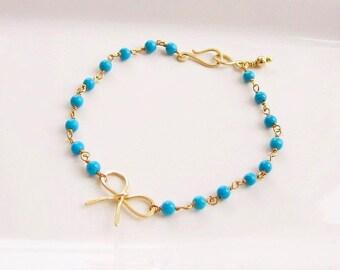 """Gold Bracelet """"Turquoise & bow"""""""